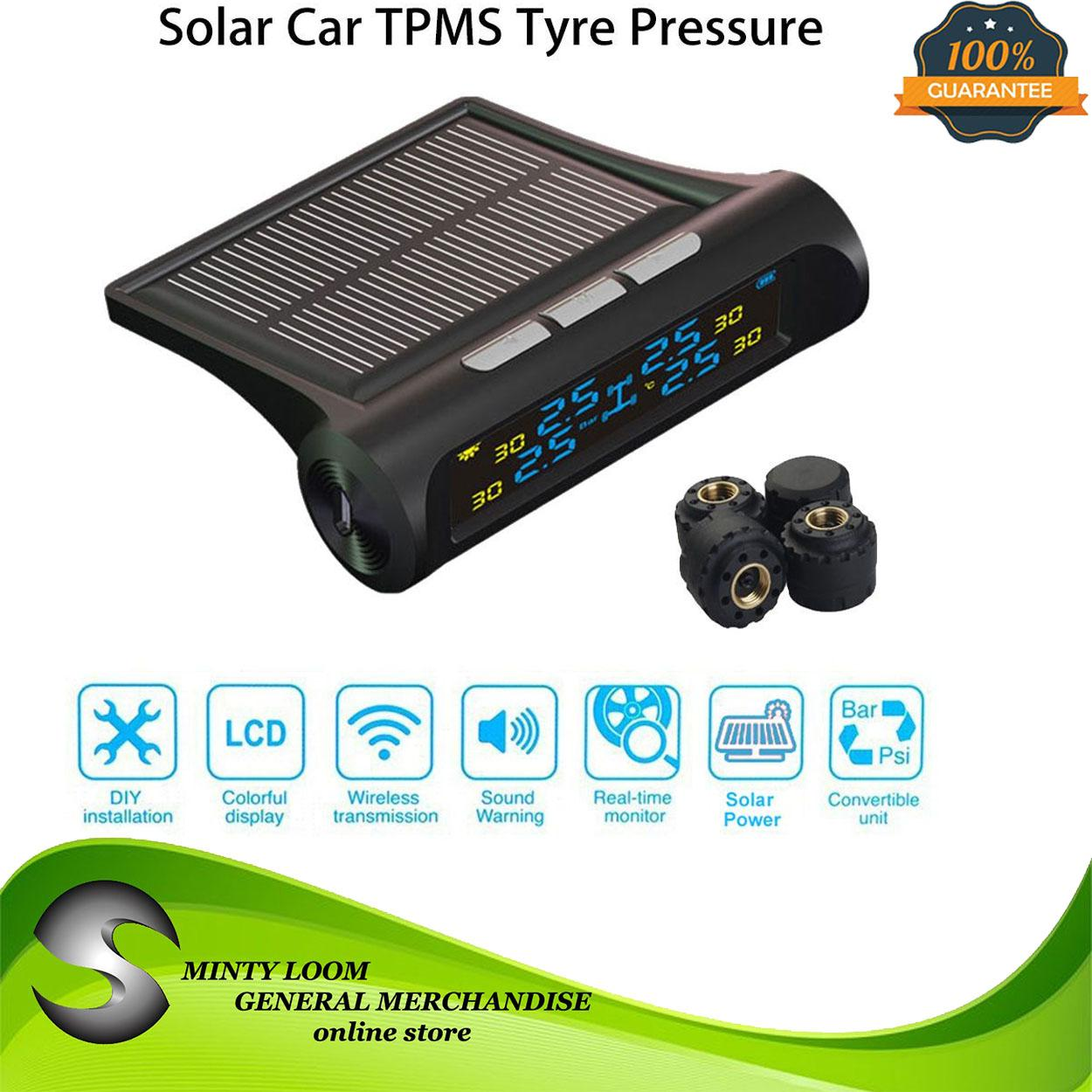 New Tpms Solar Power Car Wireless External Tire Pressure Monitoring System Lcd Display With 4 External Sensors By Minty Loom General Merchandise.