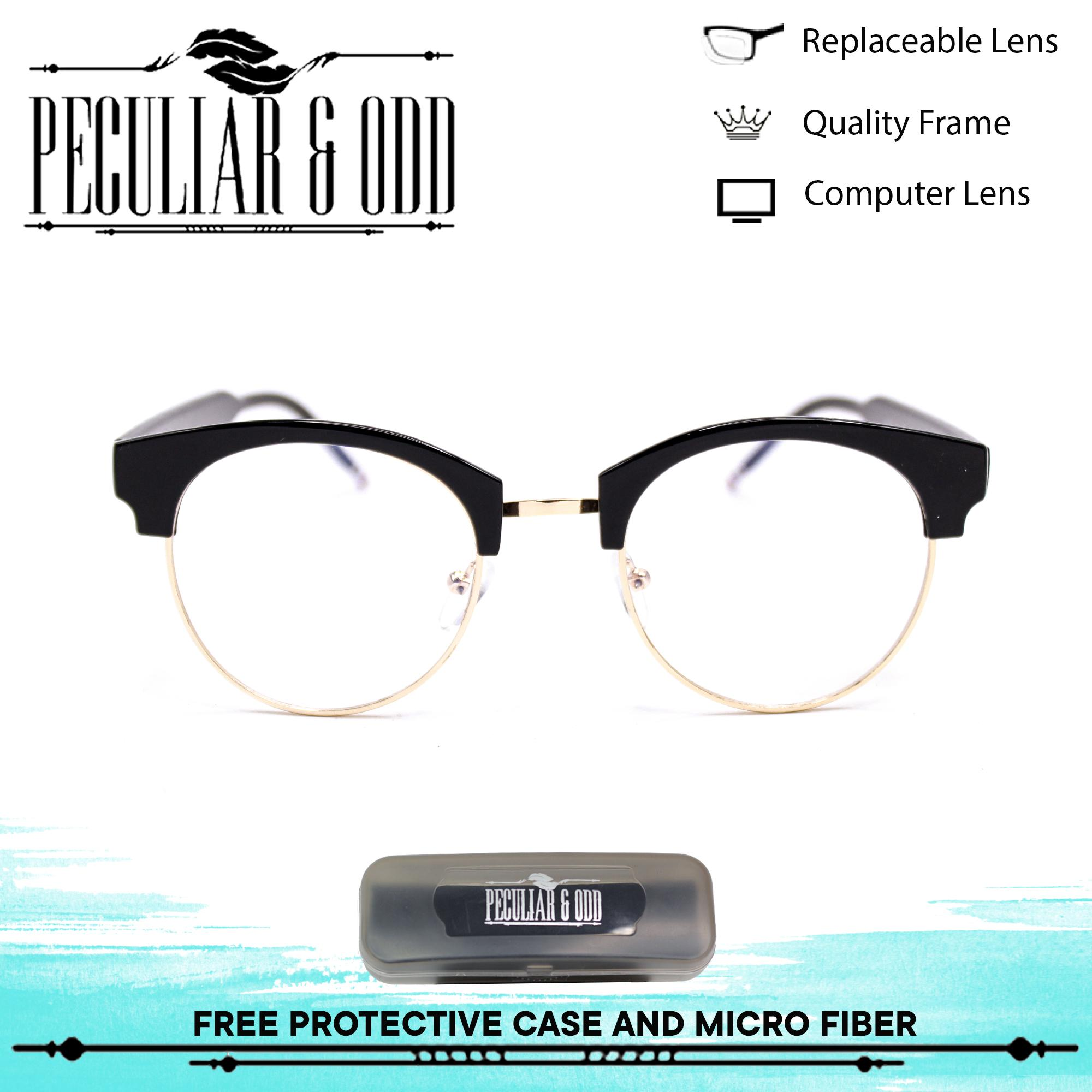 62f93ffbbd8d1 Peculiar Round Eyeglasses 8630 Antiradiation Lenses in Thin Metal Frame  Lightweight Replaceable Optical Lens Unisex Eyewear