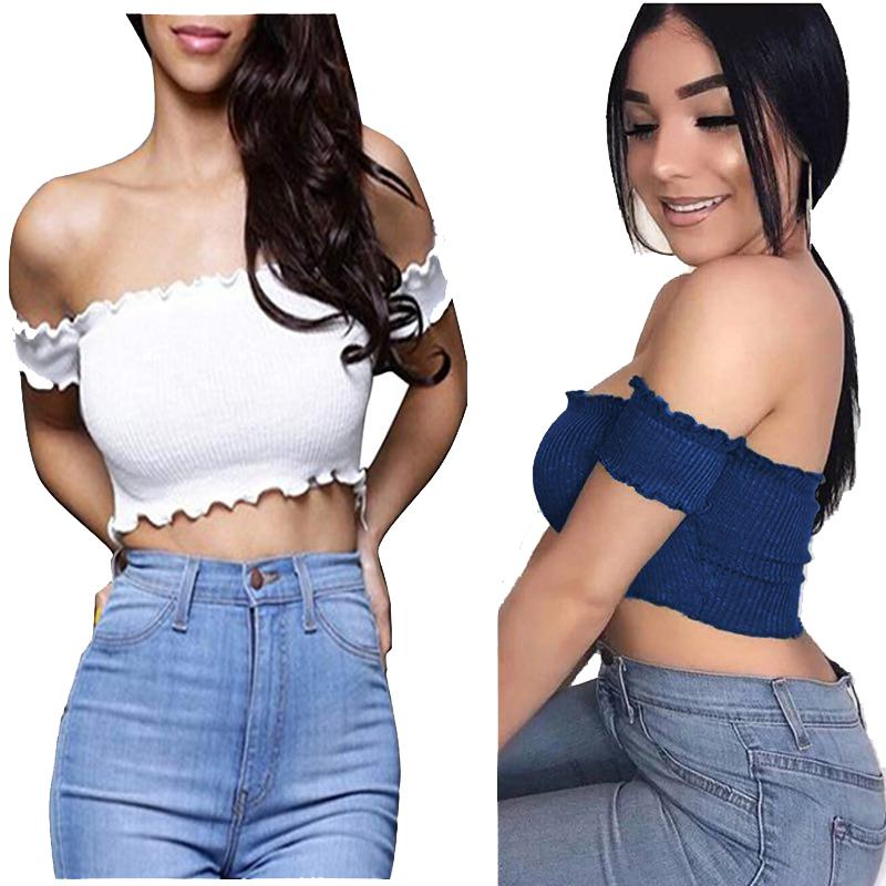 75b27ed239 ... in T-Shirts. JY. Women s Sexy Strapless Short Sleeve Ribbed Tube Crop  Top