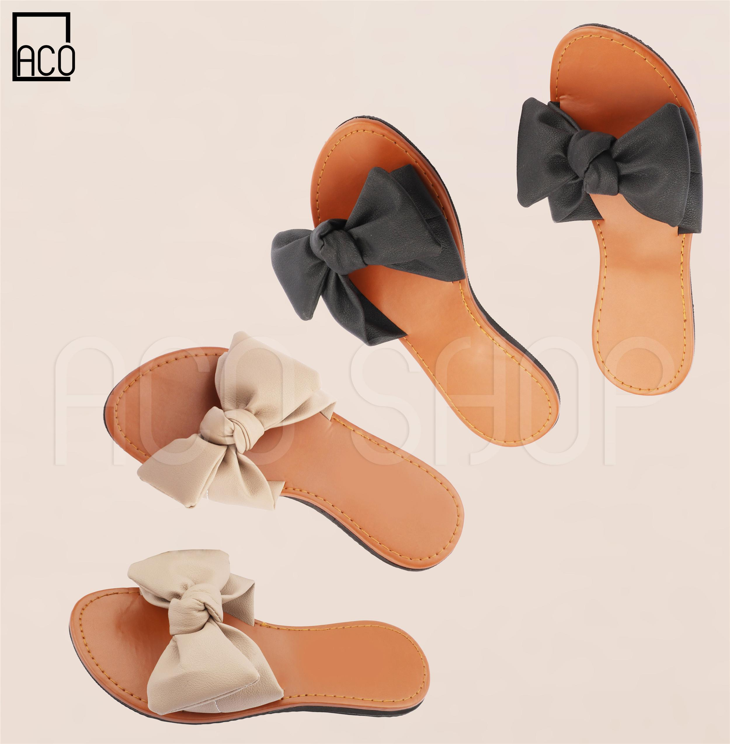 61f294d69 ACO Sandals Korean Trend Leather Ribbon Flat Sandal S101