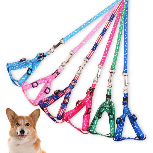 Dây In Hình Mèo Chó Thú Cưng Rộng 1CM Dễ Thương Lead Leash Harness Ngực Có Thể Điều Chỉnh Dây Đeo