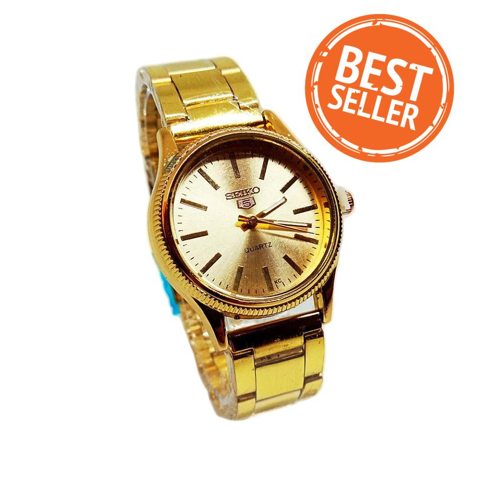 Seiko Watch Gold Dail Stainless Steel for Women (Gold)