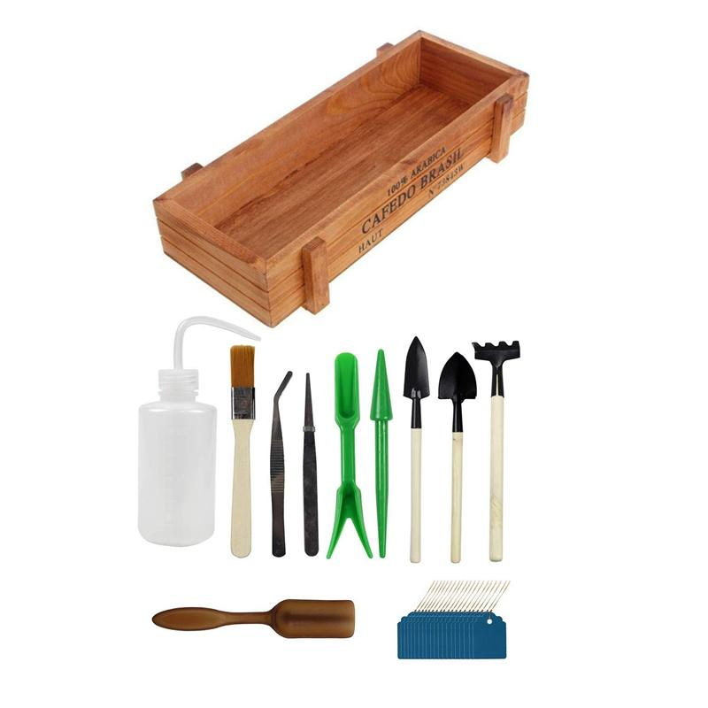 10Pcs Miniature Gardening Hand Tools Set Succulent Transplanting Fairy Garden Planting Tool, with 20 Plant Labels with Plant Pot Vintage Wood Garden Flower Succulent 1Pcs Brown