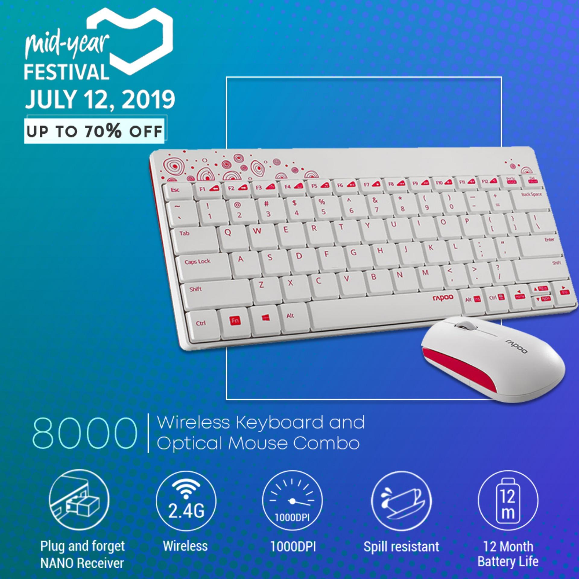 b4eaf35da51 Rapoo 8000 2.4G Wireless Membrane Keyboard and 1000 DPI Optical Mouse Combo