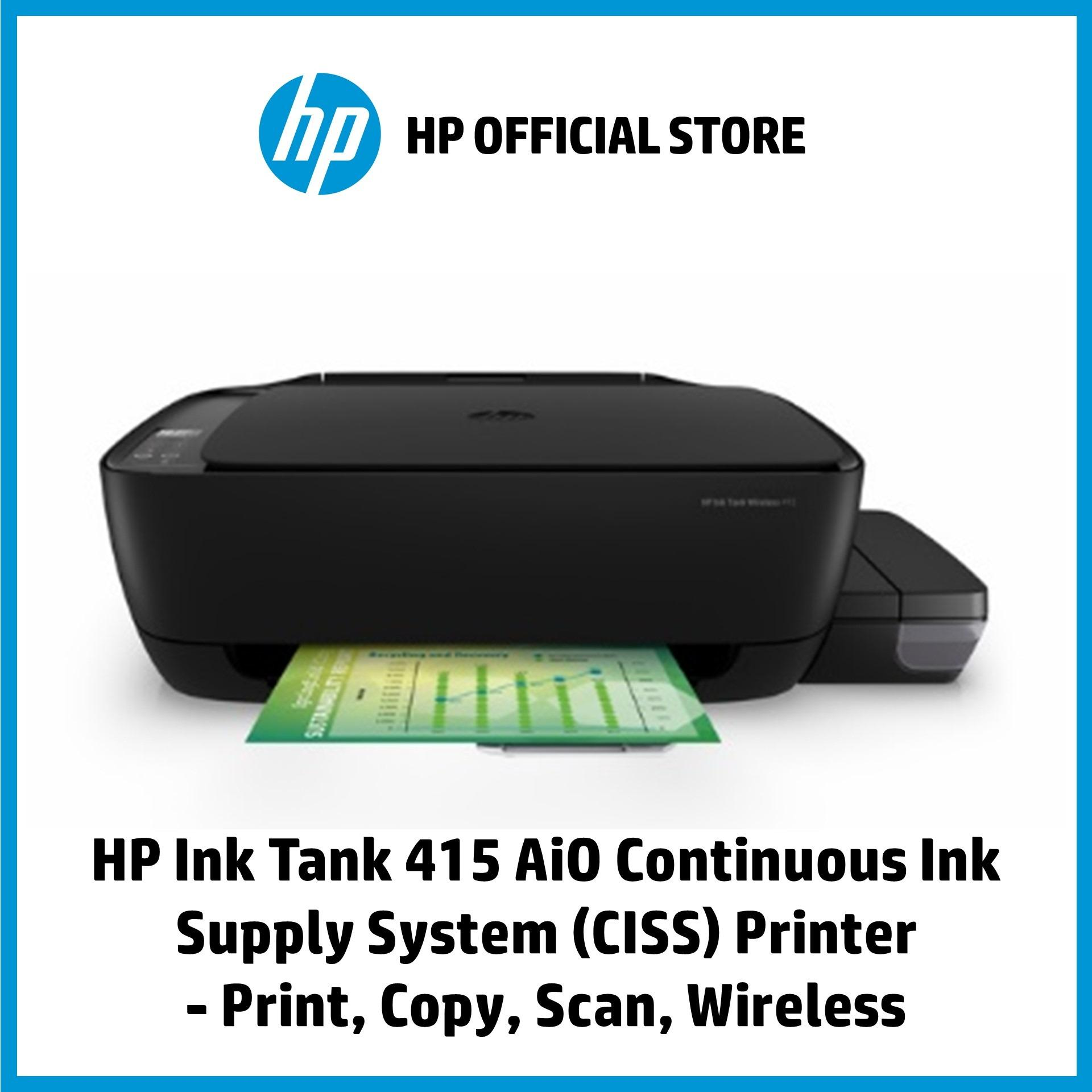 HP Ink Tank 415 AiO Continuous Ink Supply System (CISS) Printer - Print,  Copy, Scan, Wireless