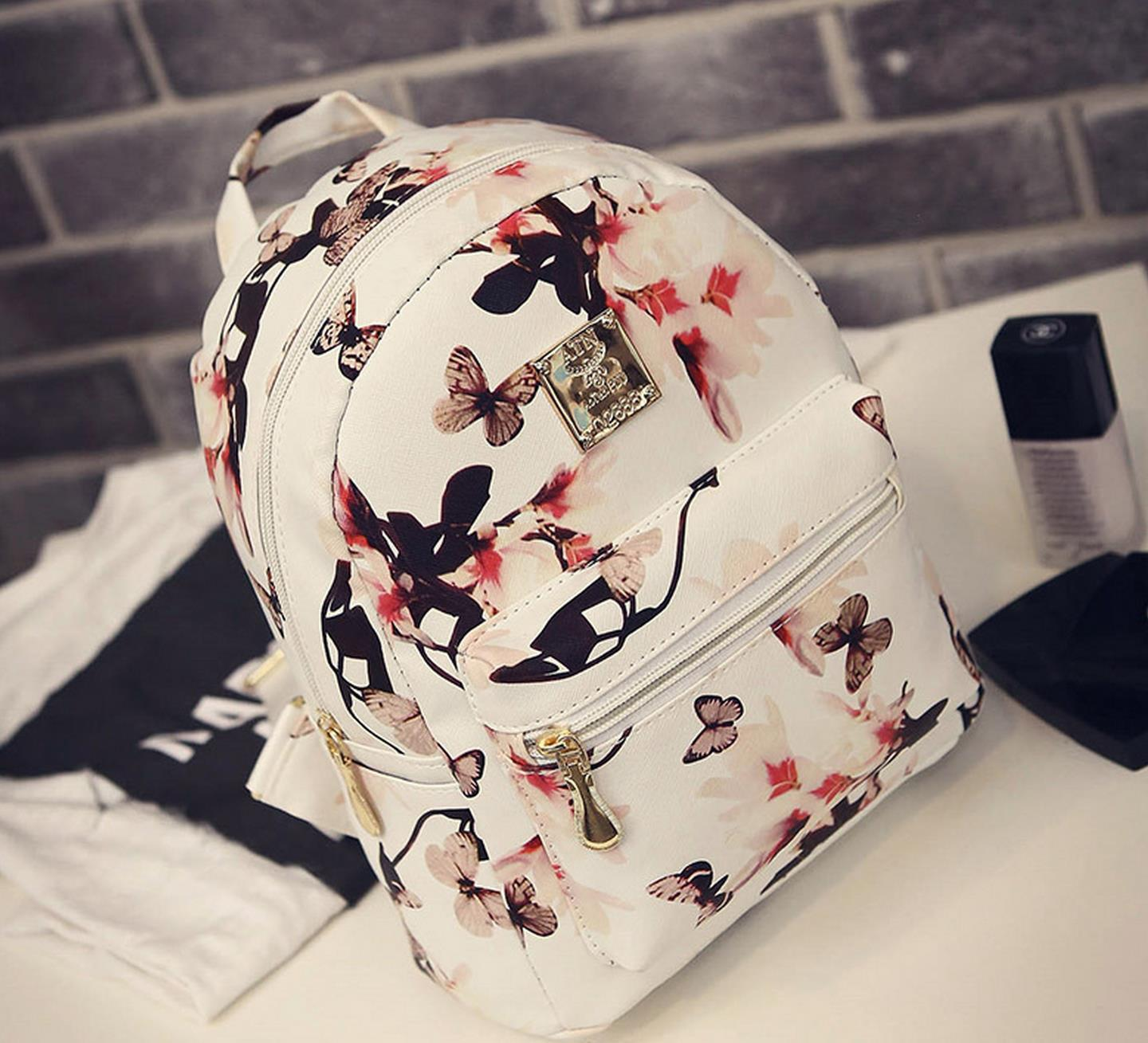 MALL Korean Leather Floral Backpack