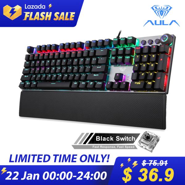 YFD AULA F2058/F2088 Mechanical Gaming Keyboard wrist rest Multimedia Knob, Marco Programming metal panel LED Backlit keyboard for Computer Gamer Singapore