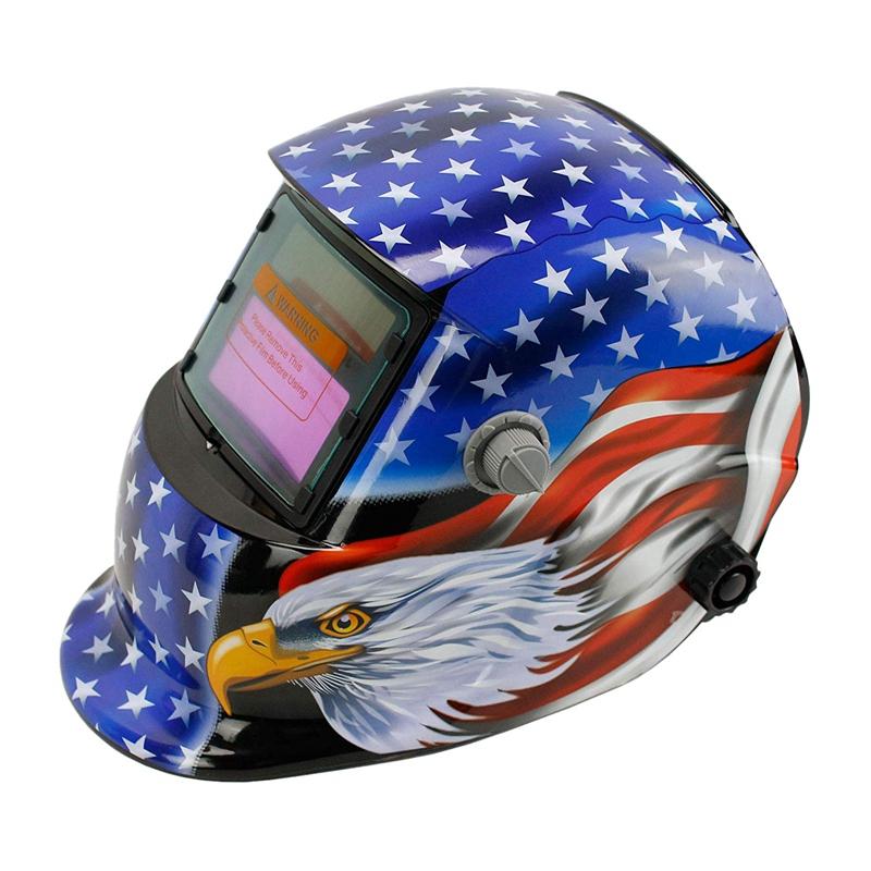 Solar Powered Welding Helmet Auto Darkening Hood with Adjustable Shade Range 4/9-13 for Mig Tig Arc Welder Mask (Blue Eagle)