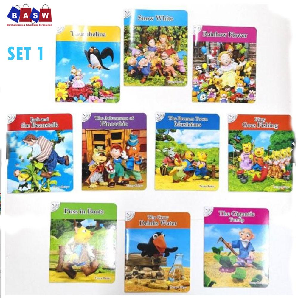 1 Set (10 Pcs) (set 1) Classic Fairytale Bedtime Story Books For Kids, Children, Nursery, Babies Educational Books With Audio Book By Basw Merchandising.