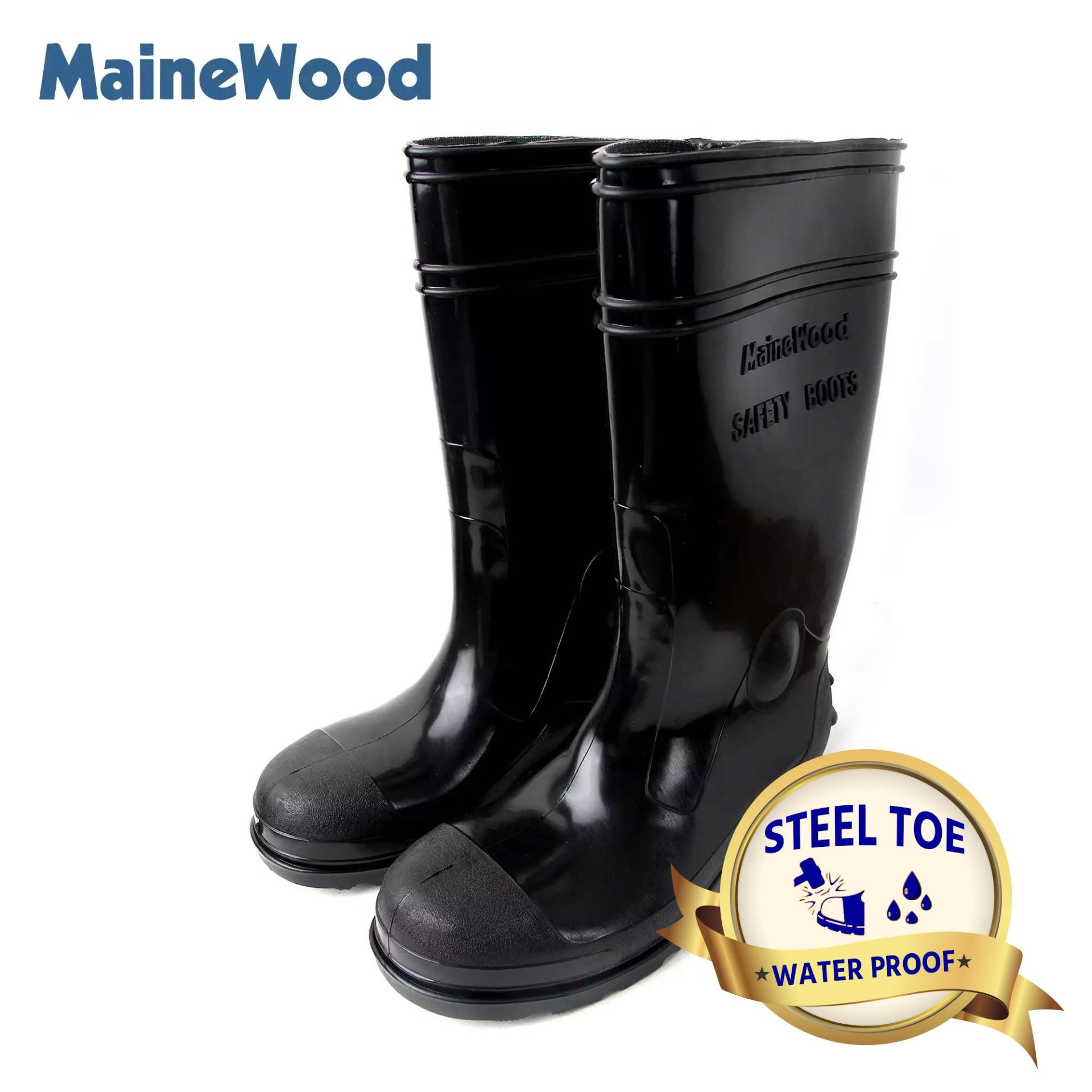 outlet store 25fbc 0961b MaineWood MST 828 Mens Steel Toe Flexible Safety Boots - Waterproof Slip  Resistant Black