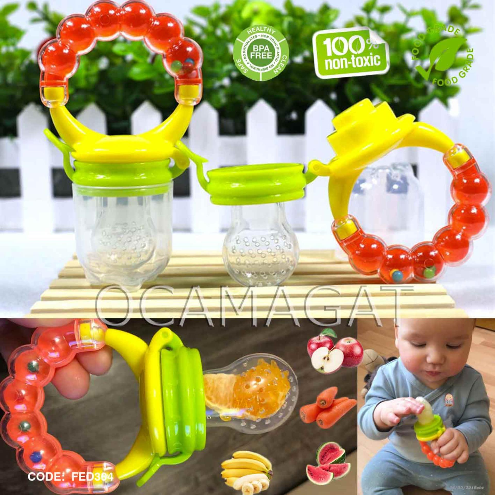 Fruit Feeder Pacifier Teether With Rattle Sound Handle By Ocamagat.
