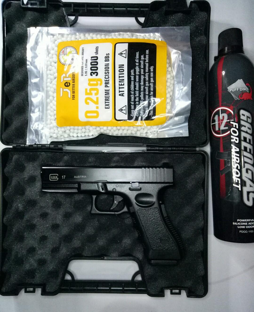 GLCK 17 GAS TYPE FULL METAL WITH FREE GAS TANK AND FREE 3000 PCS OF PELLETS