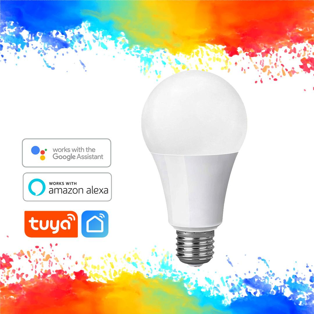 Tuya Smart Bulb - 10 Watts, No Hub Required, Daylight White 6000K,  Multicolor Dimmable LED, E27, Compatible with Alexa and Google Assistant