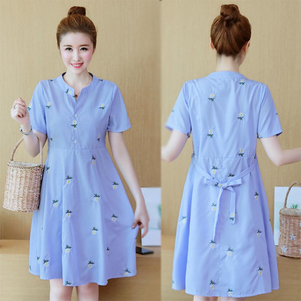 0e8a343a217 Pregnant Dress Stripes Printing Embroidered Dress Medium Style for Pregnant  Woman