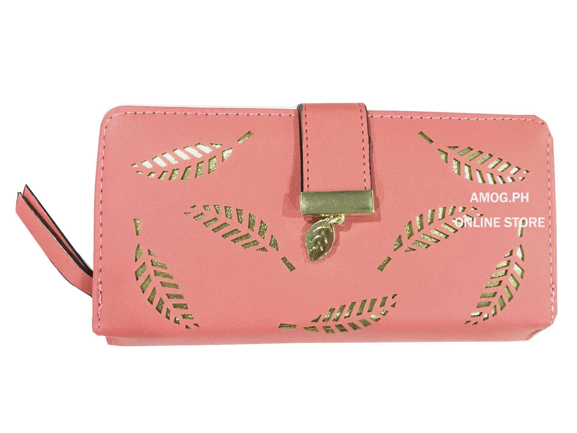 fd70a03f7 AMOG Korean Lady Long Wallet Hollow Out Leaf Leather Clutch Card Holder Purse  Lady Long Handbag
