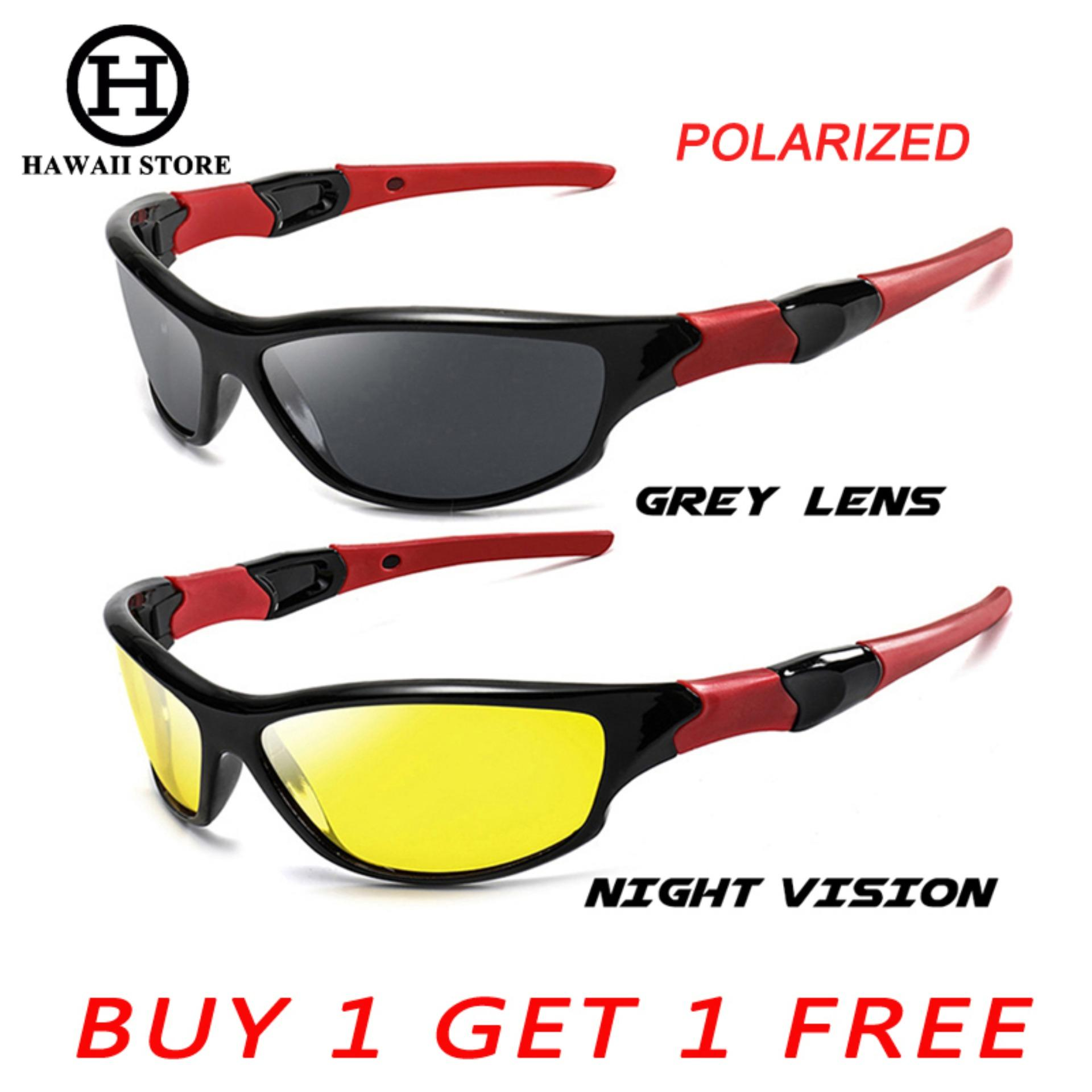 8a475d78eb10 HAWAII Polarized Night Driving Glasses For Men High Quality Anti Glare  Safety HD Night Vision Square