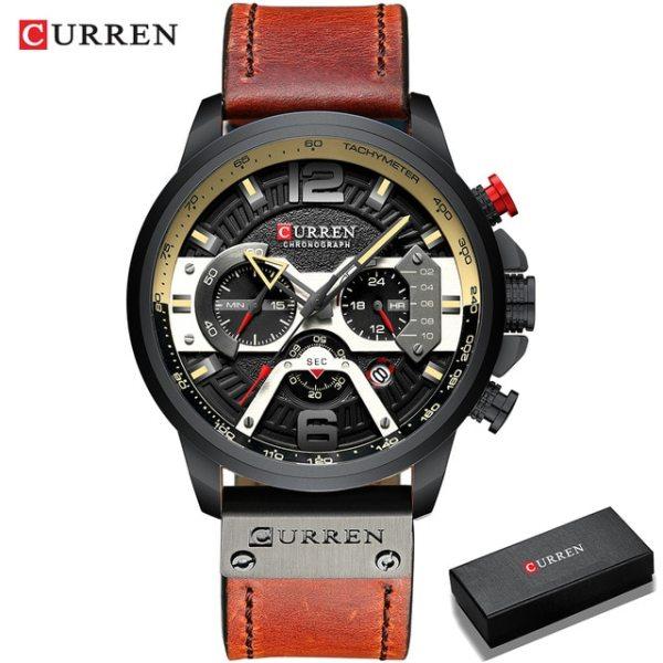CURREN Men Watches Fashion Sport Quartz Calendar Chronograph Military Leather Analog Wristwatch Waterproof Male Watches (8329) Malaysia