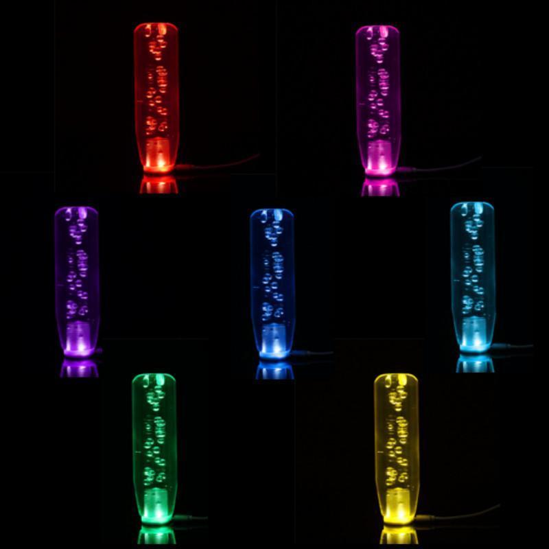 15CM Car SUV Universal Crystal Bubble Colorful LED Light Gear Shift Knob Shifter