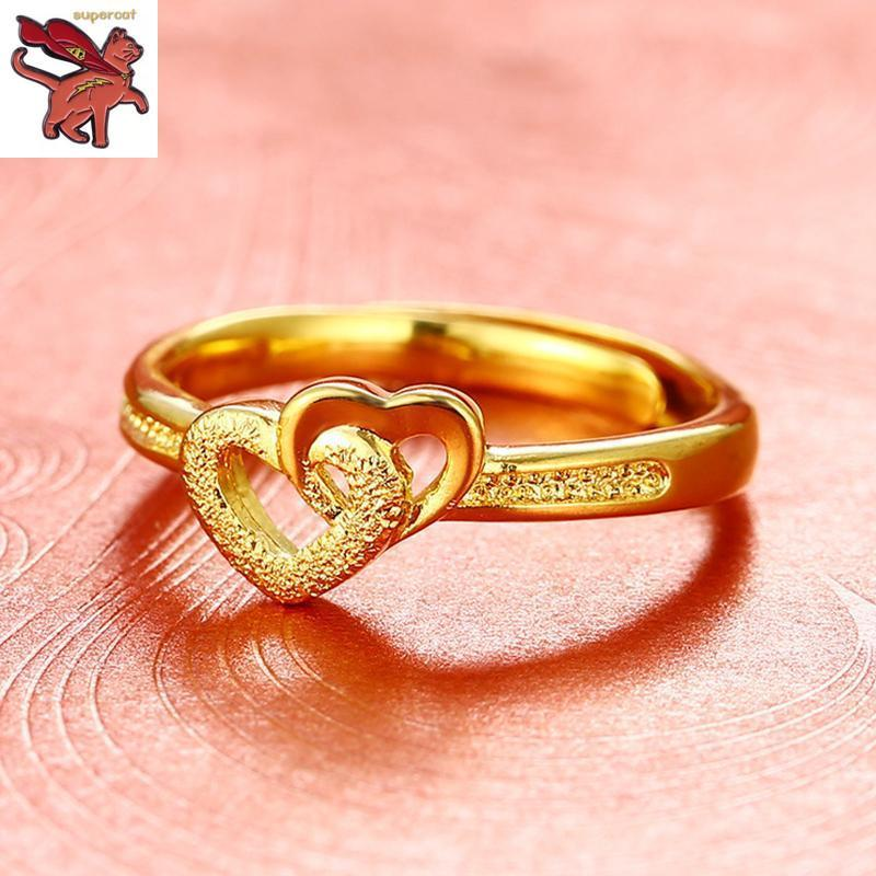 695a5ce06fd600 (promotion)18K Saudi Gold Heart Open Ring Adjustable Ring Engagement  Birthday Jewellery Gifts