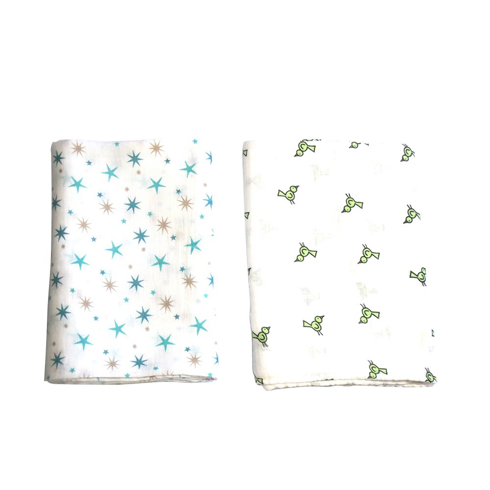 AB Swiss Muslin Swaddle Blanket Set of 2 (Blue Stars/Bird) product preview, discount at cheapest price