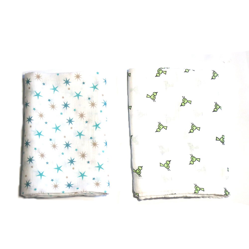 AB Swiss Muslin Swaddle Blankets Set of 2 (Blue Stars/Bird) - thumbnail