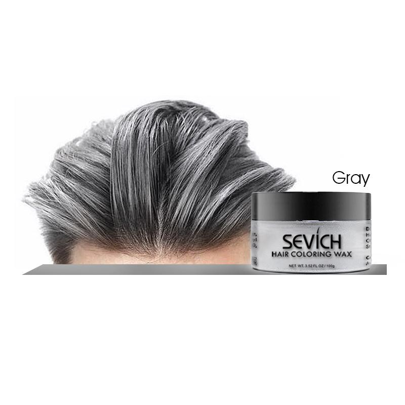 Sevich Professional Temporary Hair Color Wax (gray - 100g), Instant Hairstyle Dye For Men And Women Fashion Hair, Faralex Washable Hair Color Dye Fresh And Natural Wax For Unisex, Available Colors White, Gray, Red, Brown, Green, Blue, Purple And Yellow By Faralex International.