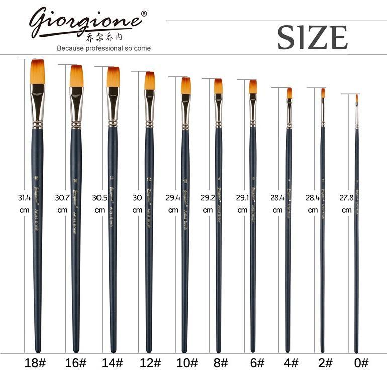 Professional Painting Flat Brush Taklon Hair Copper Ferrule - Choose Size