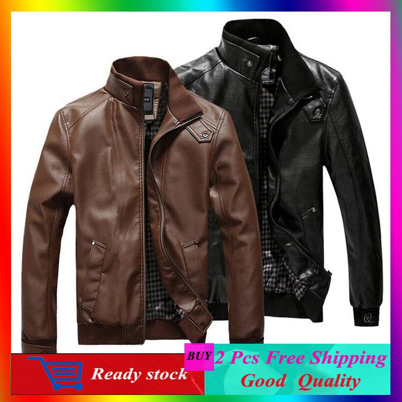 Mens Stand-Collar Motorbike Leather Short Jacket By Fashion Nine.