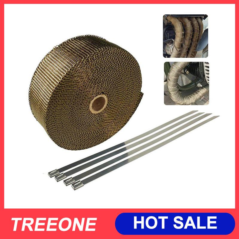 Treeone 5 Meters Titanium Exhaust Heat Wrap for Motorcycle Fiberglass Heat  Shield Tape with 4Pcs Stainless Ties