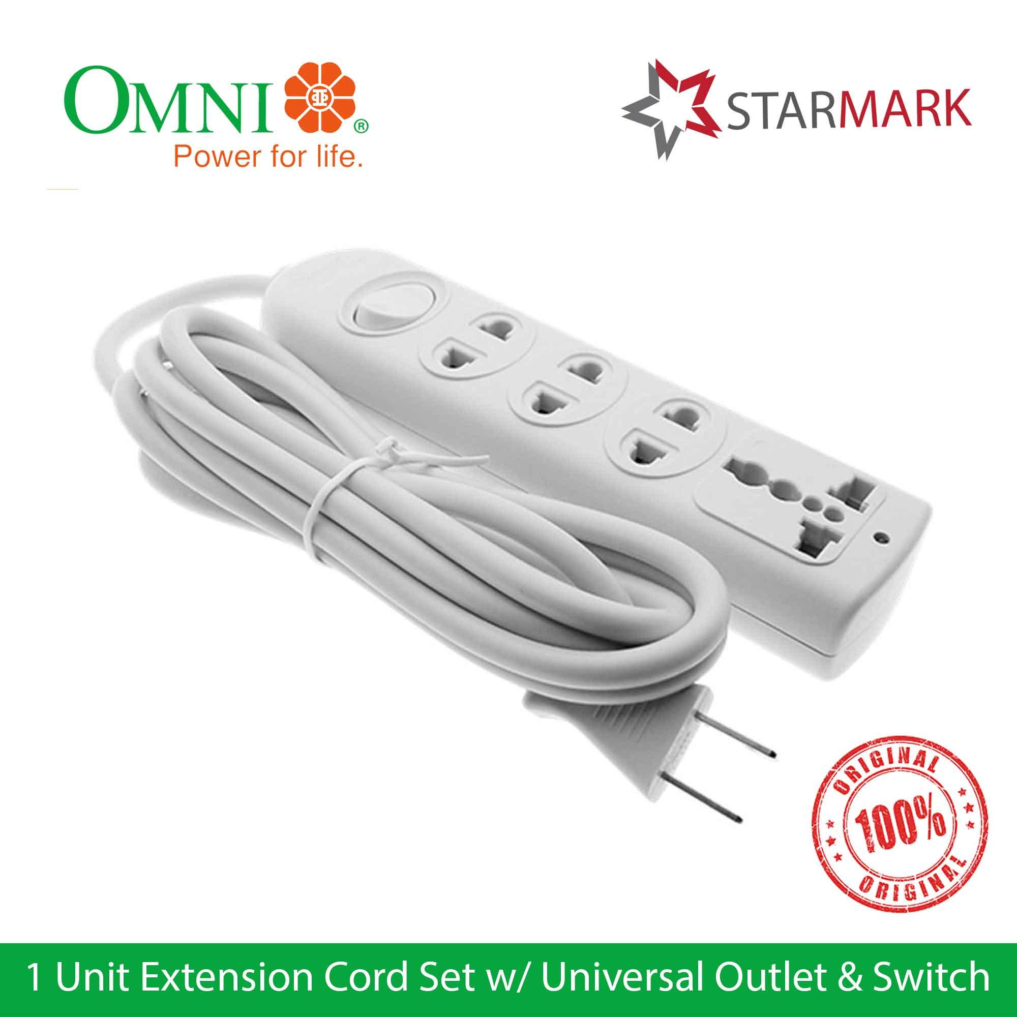 Omni Extension Cord Set With Universal Outlet And Switch Wer103 Wer-103 - Genuine And Original By Starmark Enterprises.