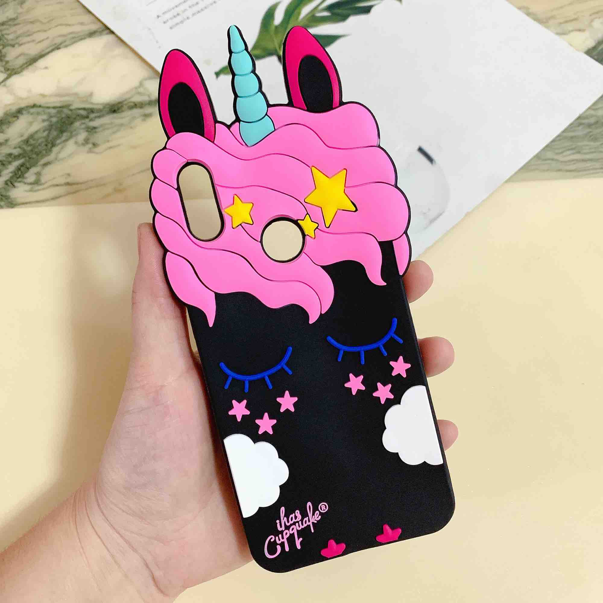 For Huawei Y6 2019 Case New 3D Cute Cartoon Black Unicorn Silicone Soft Phone Case for HuaweiY6 2019 Case Fashion Soft Rubber Phone Case Cover