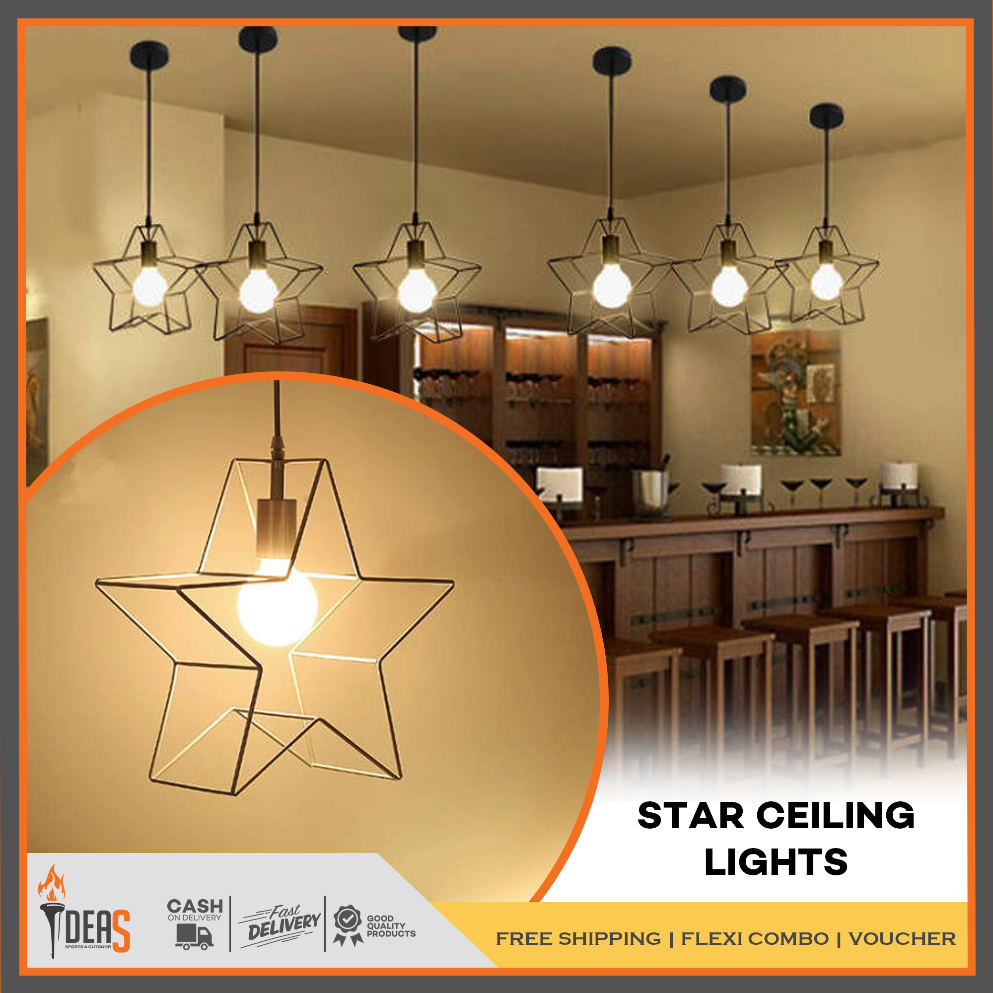 IDEAS Creative Modern Star Shape Pendant Lamp Ceiling Light Lamp for Coffee  Shop Hair Salon Front Desk Nail Solon Restaurant Household Decoration