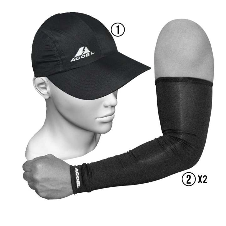 Accel Sports Cap And Sport Sleeves (Black)