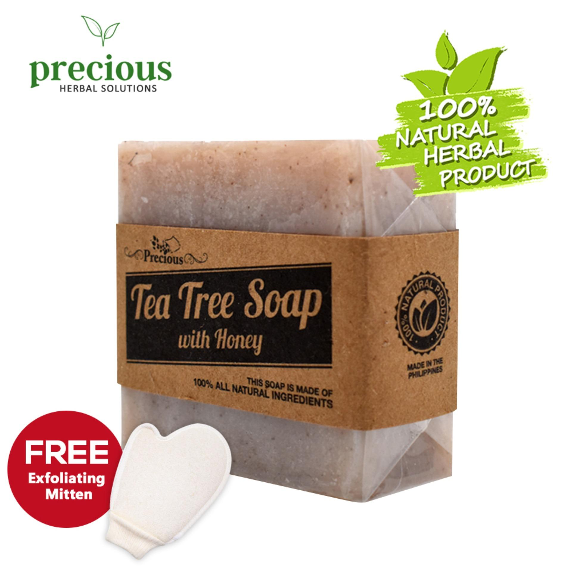 Precious Herbal Natural Tea Tree Soap with Shower Mitten (White) Natural  Antiseptic to treat other skin infections while smoothes skin and remove  dead