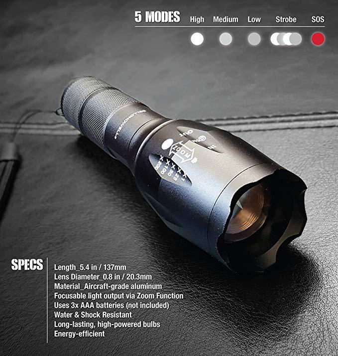Bell + Howell Taclight High-Powered Tactical Flashlight with 5 Modes & Zoom Function
