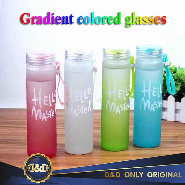 D&d Creative Gradual Colorful Glass Grinding Portable Water Cup With Hand Cup Korean Colorful Personal Glass By D&d.