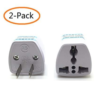 2pk All In One Power Adapter Wall Charger Socket Travel Plug Converter US EU UK