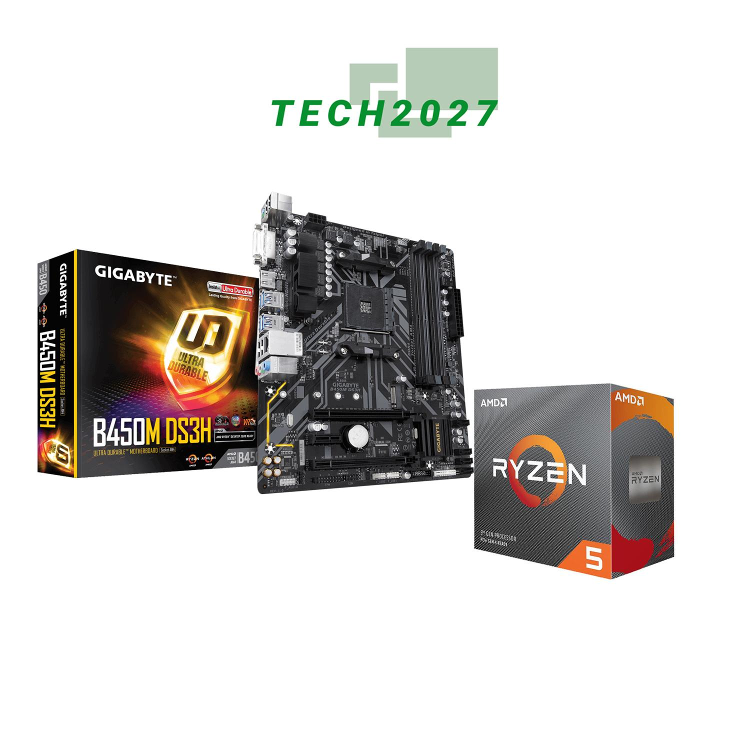 AMD RYZEN 5 3600 6-Core 3 6 GHz PROCESSOR WITH GIGABYTE B450M DS3H (updated  bios) MOTHERBOARD