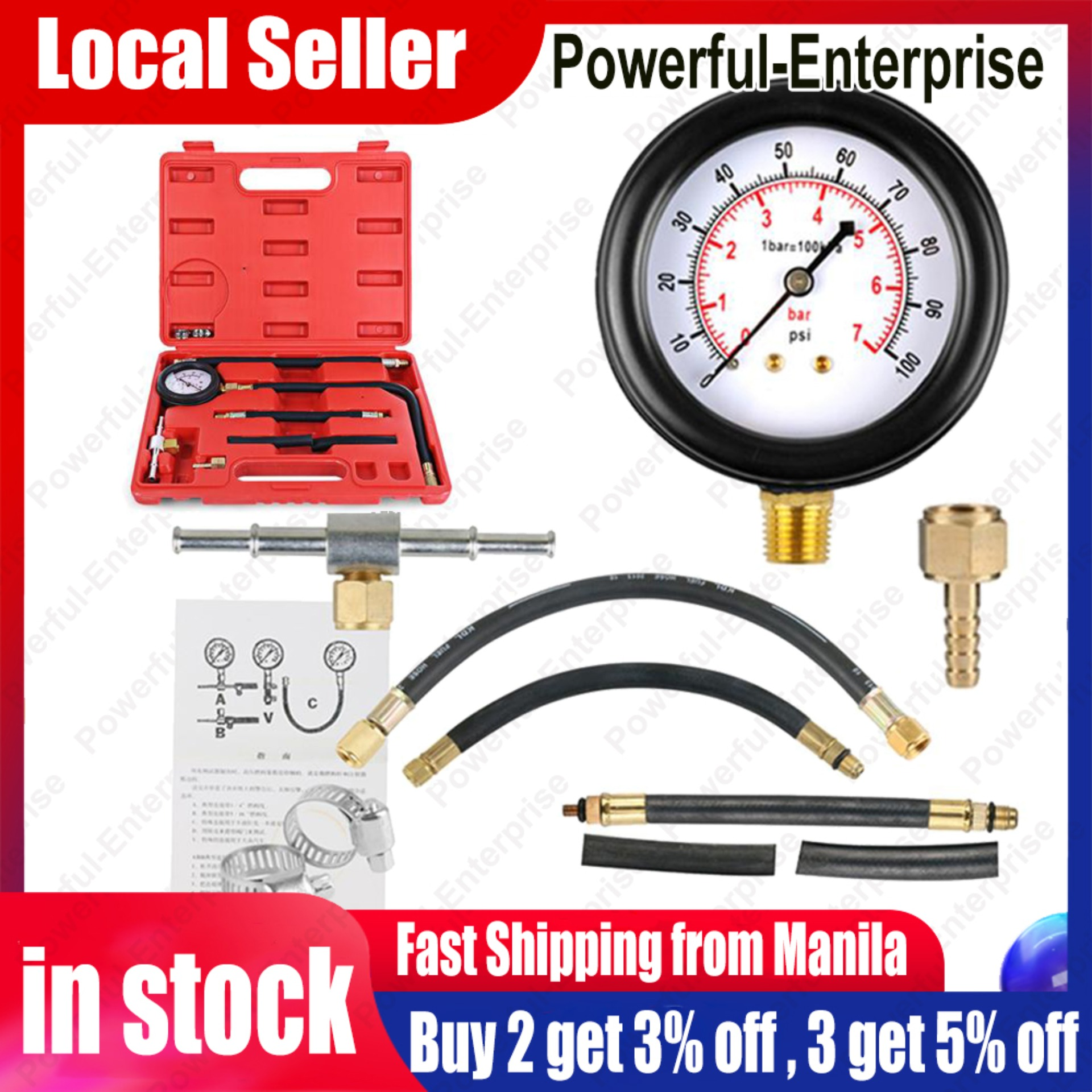 Homyl Petrol Gas Engine Cylinder Compression Test Kit Gauge Automotive Motorcycle Accurate