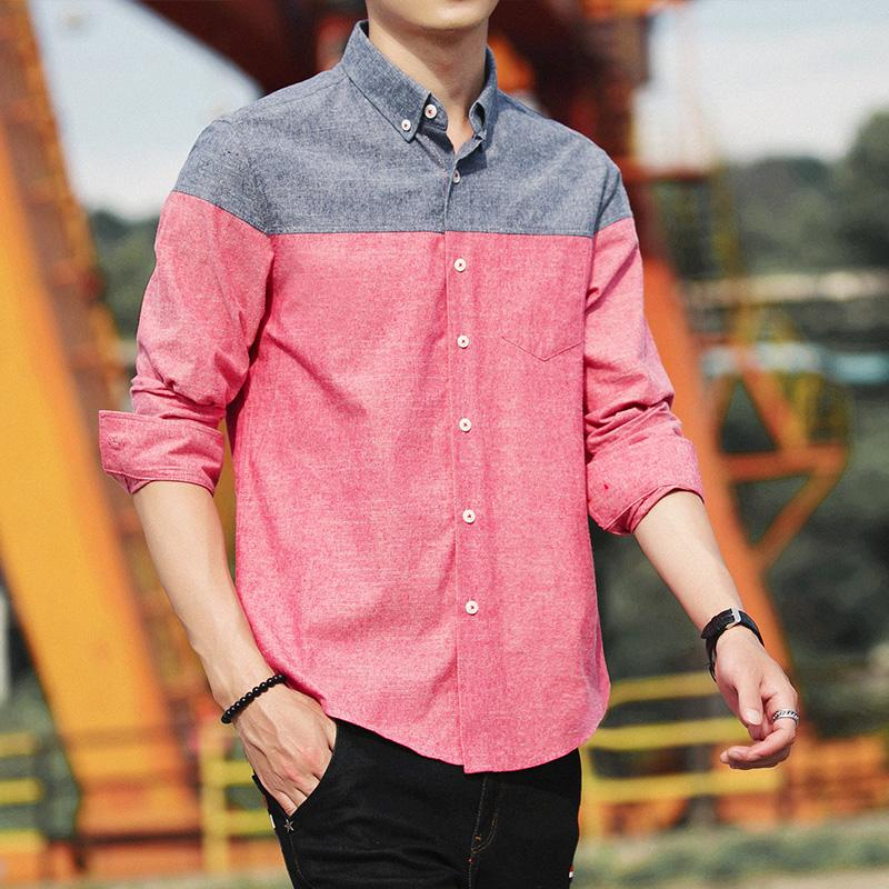 076e82c13 Men Shirt Spring Slim Fit on the Clothes 2019 New Style Korean Style Trend  Handsome Men's