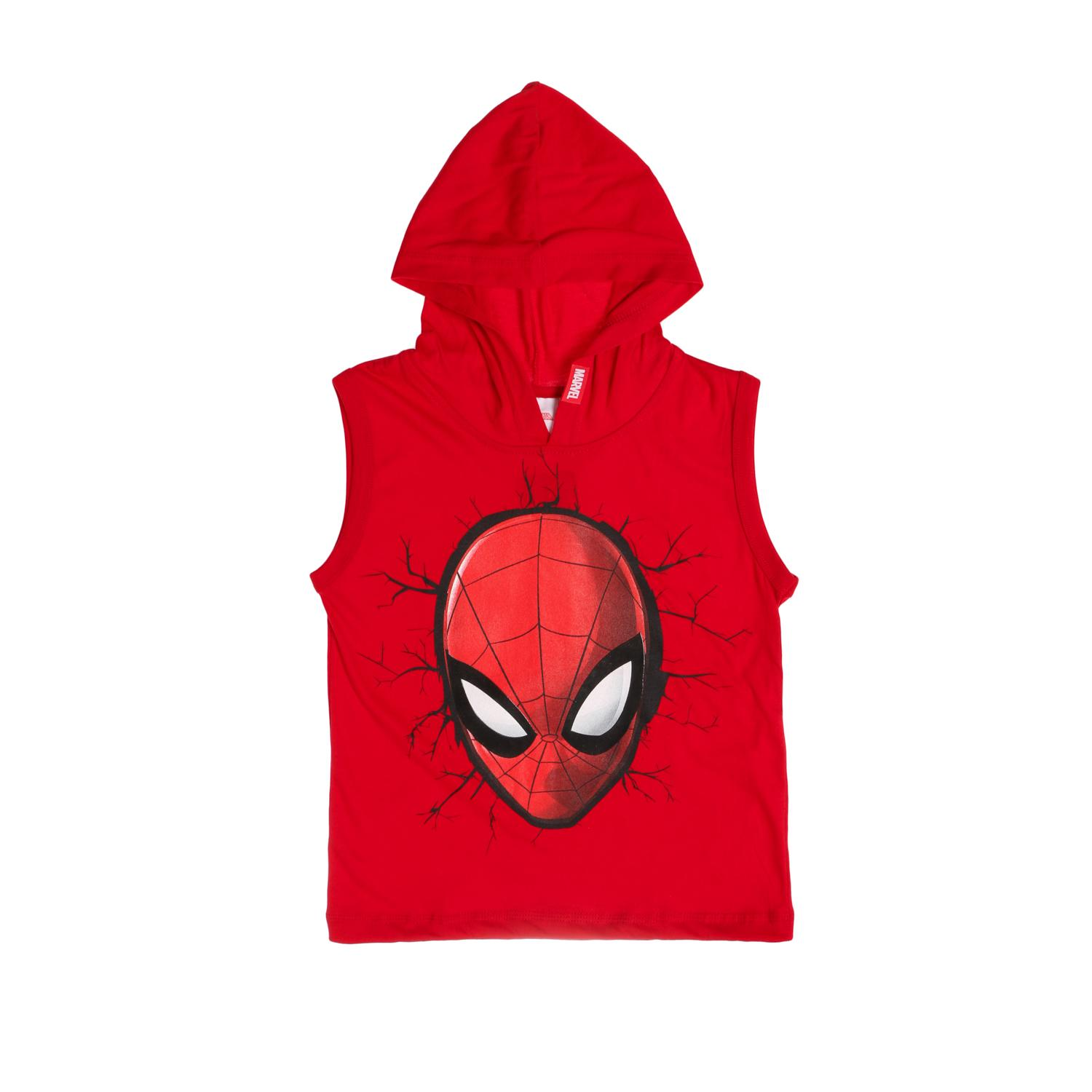 0ffe2645354916 Marvel Spider-Man Boys Cracked Wink Head Hooded Muscle Tee in Red