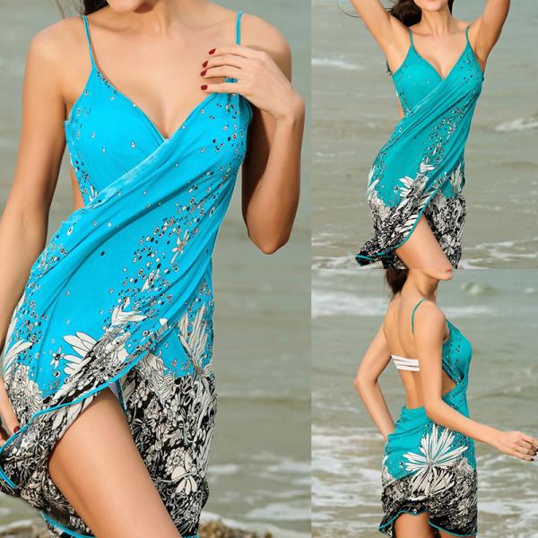 0duw Thời Trang Nữ Sarong Váy Đi Biển Pareo Bikini Cover-Up Váy Khăn Đồ Bơi Đảng Backless Hở Lưng Phụ Kiện Một Cỡ