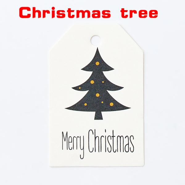 exix 50PCS Gift Wrapping DIY Kraft Tags Merry Christmas Labels Paper Hang Tags Paper Cards Santa Claus Xmas Party Supplies