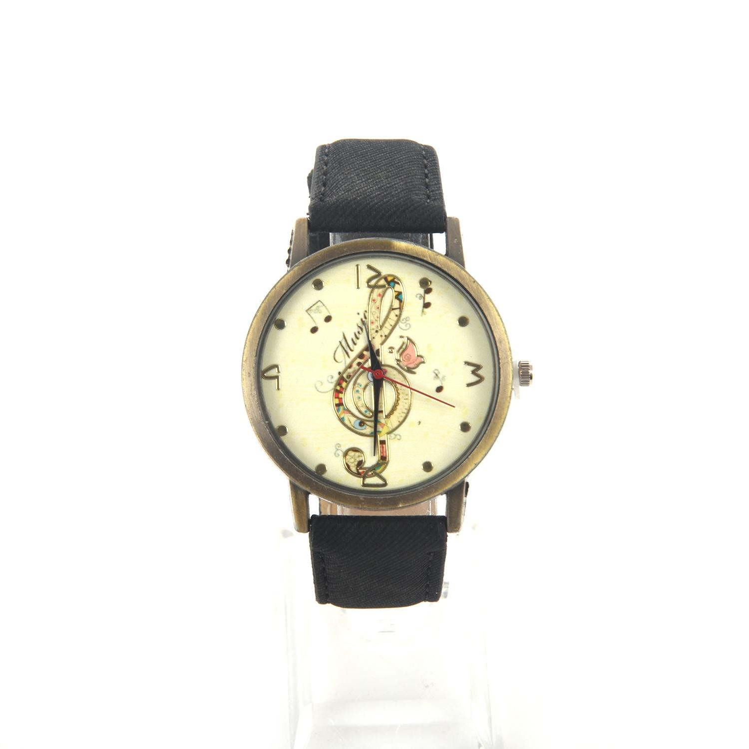 Ladies Music Symbol Pattern Leather Strap Wrist Watches black Malaysia