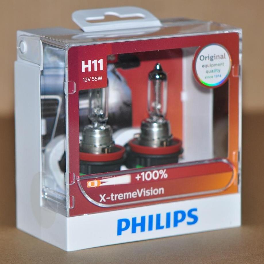 Genuine Philips X-treme Vision H11 headlight bulb -Duo