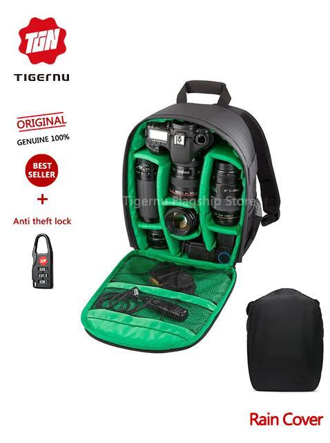Product details of 2018 Tigernu Waterproof Camera Backpack DSLR Camera Bag( black green) 2af787c41986f