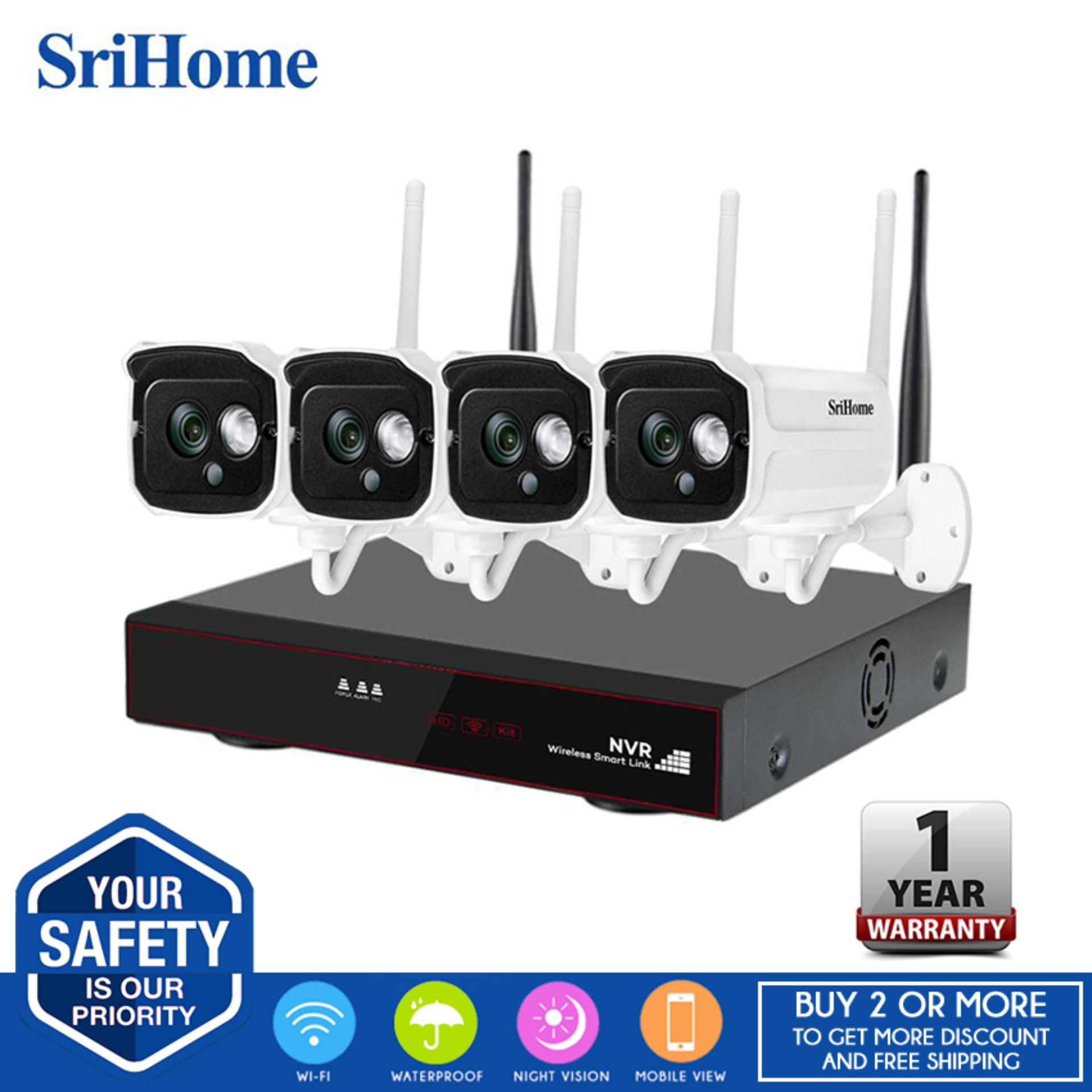Sricam SriHome NVS001 NVR CCTV Kit Wireless Video Security Camera System, 4  Wifi Weatherproof HD-IP Metal Bullet Cameras & 4CH 1080P HD NVR (No HDD