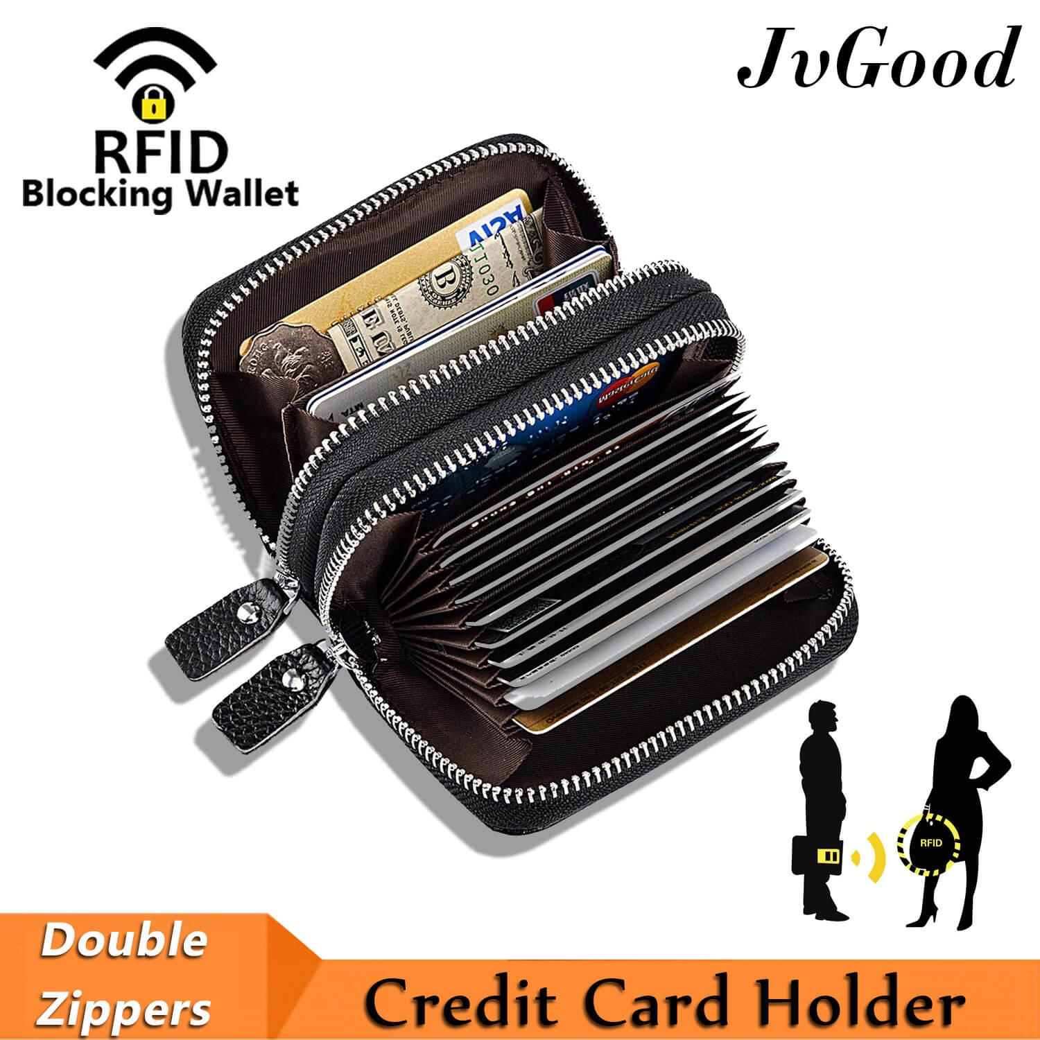 JvGood RFID Blocking Credit Card Holder, Genuine Leather Credit Card Wallet with Double Zipper Small Pocket Wallet Spacious Accordion Wallets