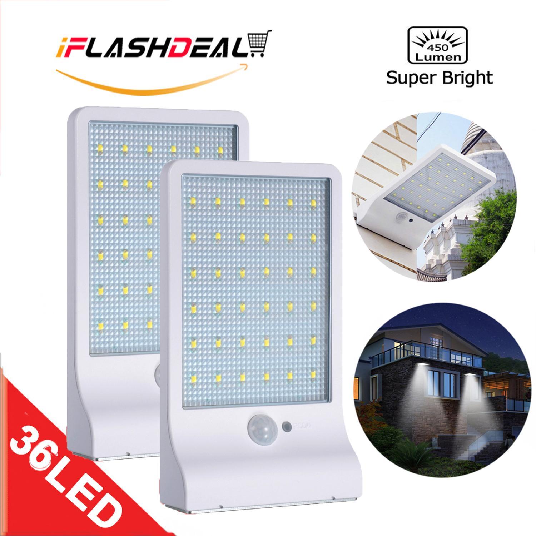 iFlashDeal 36 LED Solar lights Outdoor Lighting Wall Power Street Light Motion Sensor Detector Light Security Lamp Garden 450LM 【2 Pack】