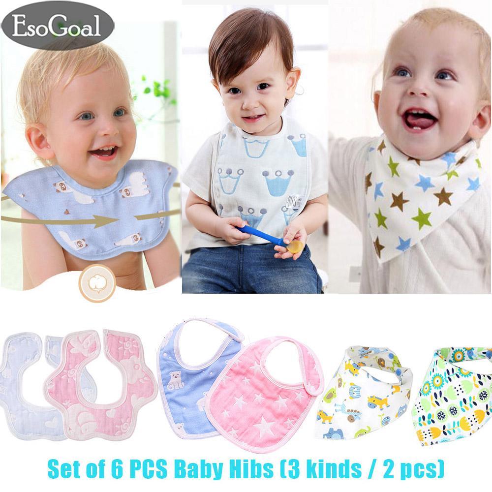 60e43005ae3 JvGood 6Pcs Baby Toddler Kids Drool Bibs Cotton Saliva Towel 6 Layer  Bandana Triangle Towel Drooling